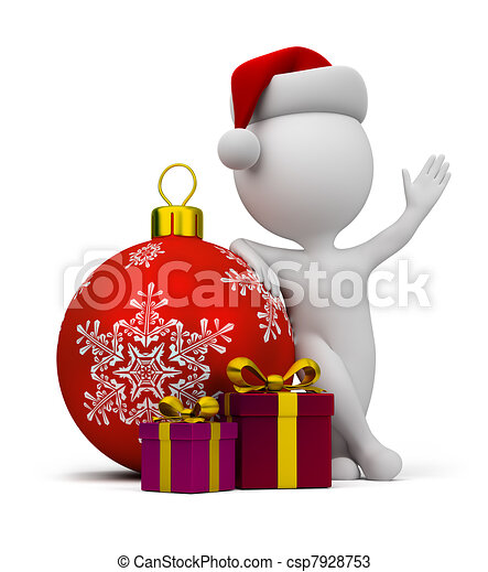 3d small people - Santa with gifts and a Christmas ball - csp7928753