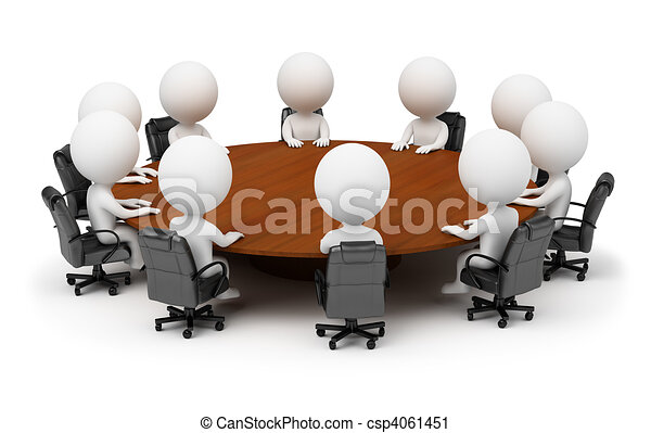 3d small people - session behind a round table - csp4061451