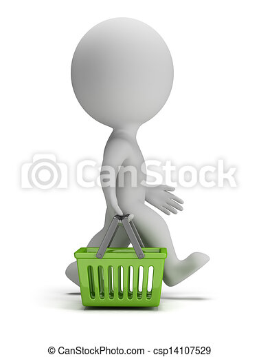 3d small people - shopping basket - csp14107529
