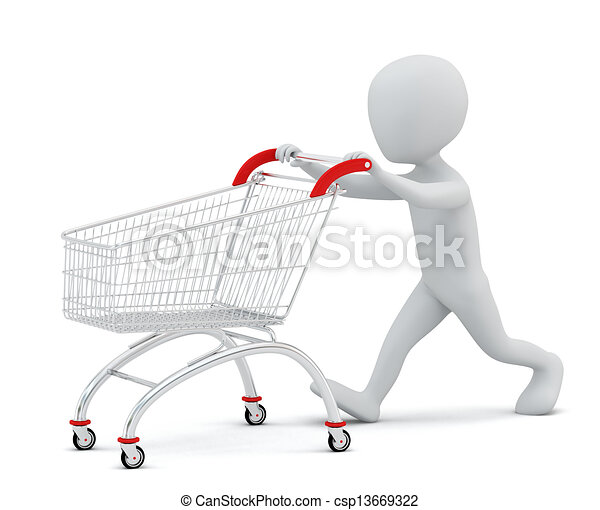 3d small people - shopping cart. - csp13669322