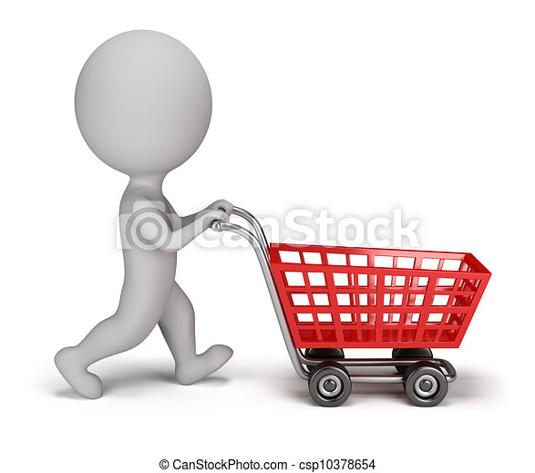 3d small people - shopping cart - csp10378654