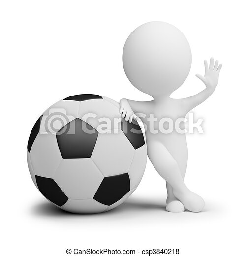 3d small people - soccer player with the big ball - csp3840218