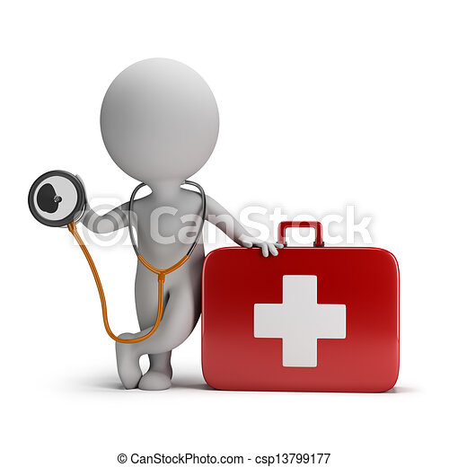 3d small people - stethoscope and medical kit - csp13799177