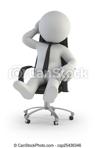 3d Small People Supervisor Manager In Chair Supervisor