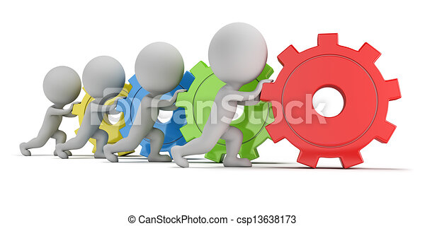 3d small people - team with gears - csp13638173