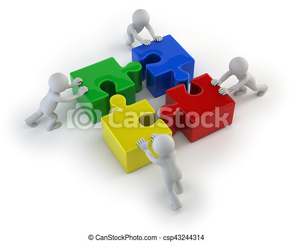 3d small people - team with the puzzles - csp43244314