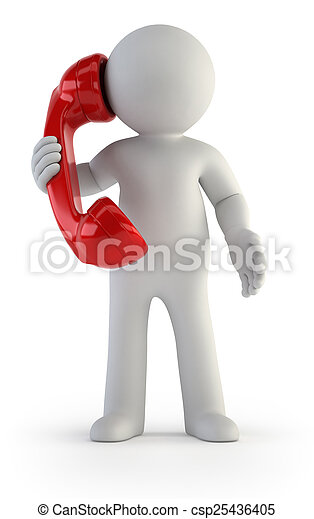 3d small people - Telephone conversation - csp25436405