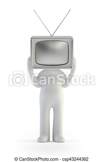 3d small people - TV man - csp43244362