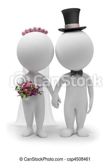 3d small people - wedding - csp4508461