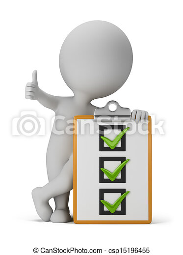 3d small people with a checklist - csp15196455