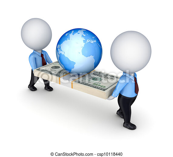 3d small people with a dollar pack and Earth. - csp10118440