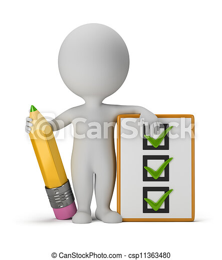 3d small people with clipboard and pencil - csp11363480