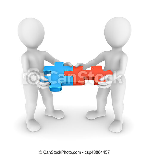 3d Small People With Jigsaw Puzzle