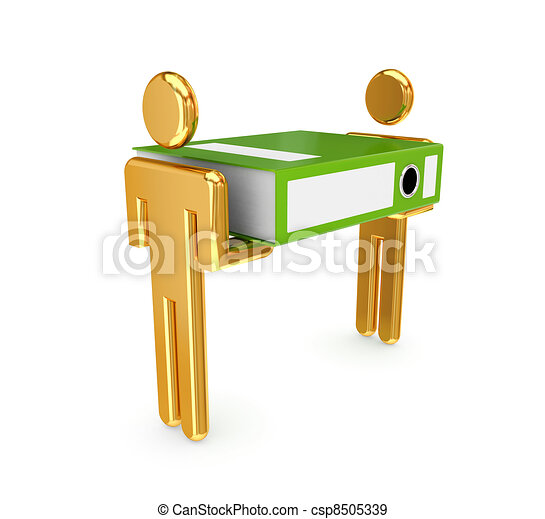 3d small people with large office folder - csp8505339