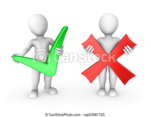 3d small people with positive and negative simbols - csp53581723