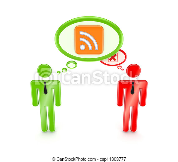 3d small people with RSS symbol and red cross mark. - csp11303777