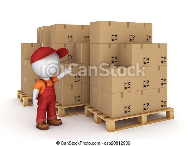 3d small person and carton boxes. - csp20812939