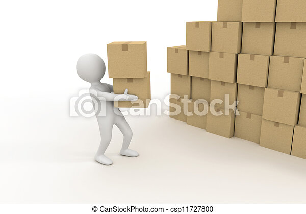 3d small person and pile of cardboard boxes - csp11727800