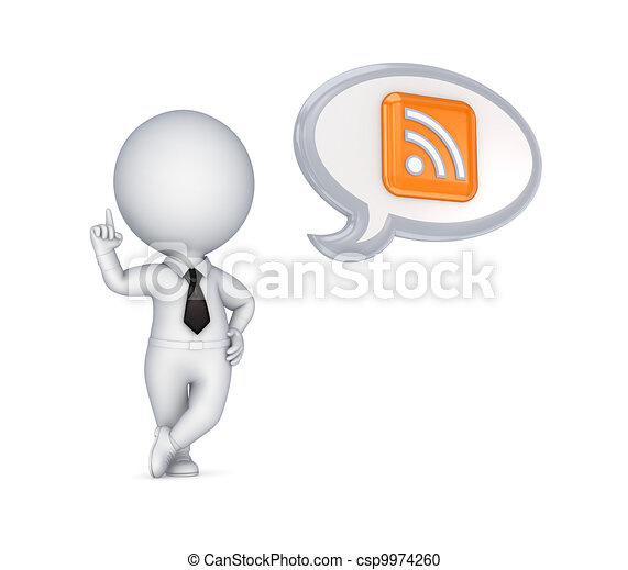 3d small person and RSS symbol. - csp9974260