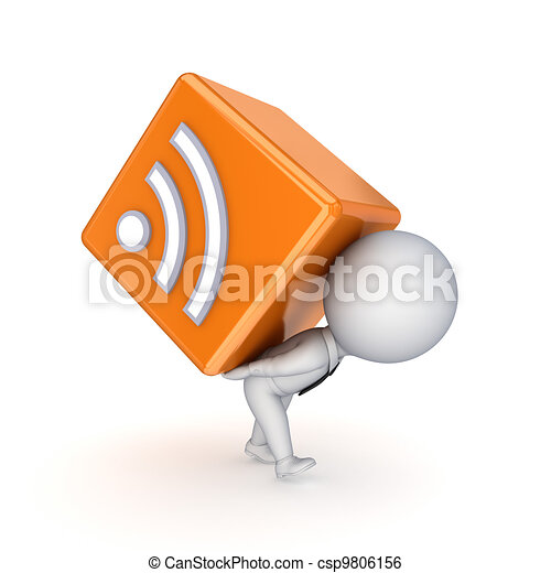 3d small person and RSS symbol. - csp9806156