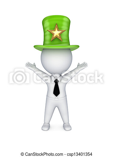 3d Small Person In Top Hat With Star Symbol