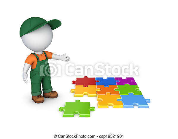 3d small person in workwear and colorful puzzles.. - csp19521901