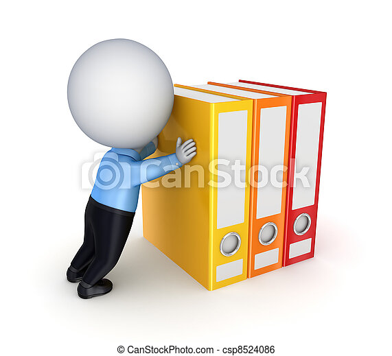 3d small person pushing a colorful folders. - csp8524086