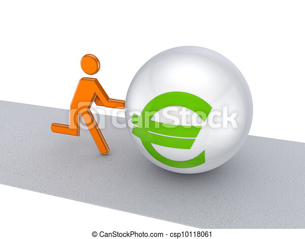 3d small person pushing euro symbol on a road. - csp10118061