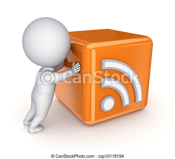 3d small person pushing RSS symbol. - csp10118194