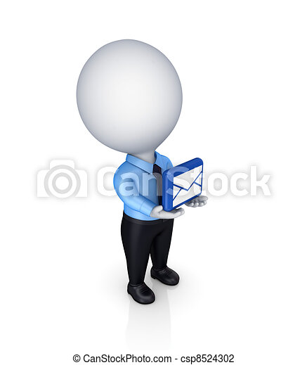 3d small person with envelope symbol in a hands. - csp8524302