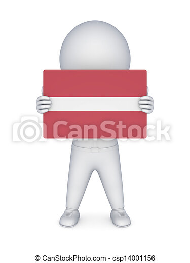 3d small person with flag of Austria. - csp14001156