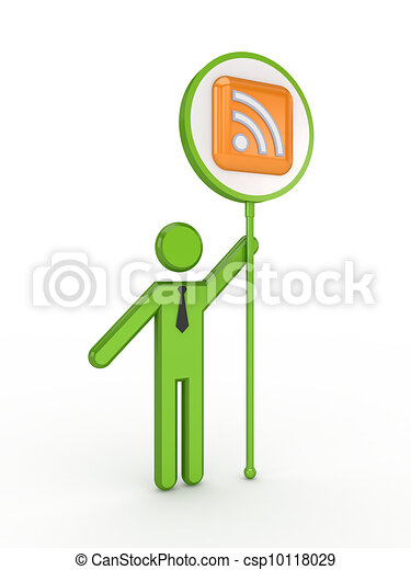 3d small person with RSS symbol. - csp10118029