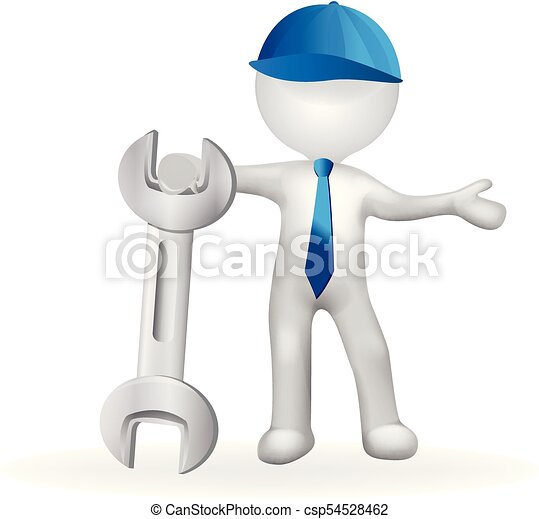 3d Small white people with a wrench - csp54528462