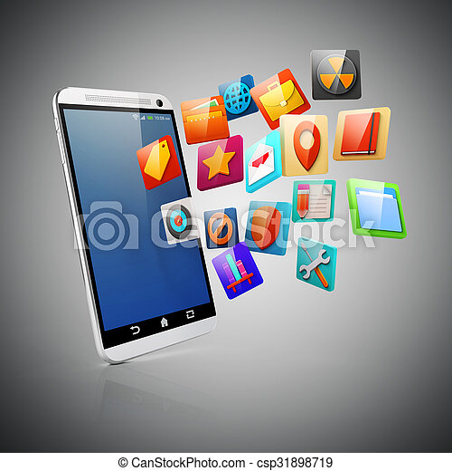 3d smart phone and colorful icons - csp31898719