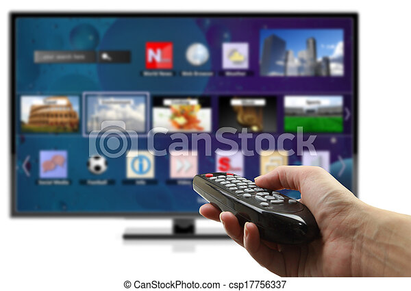 3D smart tv with hand holding remote control isolated  - csp17756337