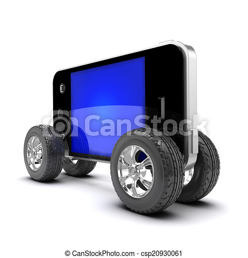 3d Smartphone with car wheels - csp20930061