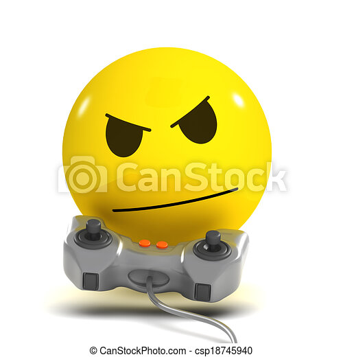 3d Smiley gamer - csp18745940