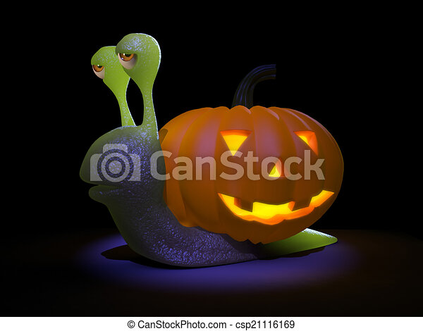 3d Snail goes all Halloween - csp21116169