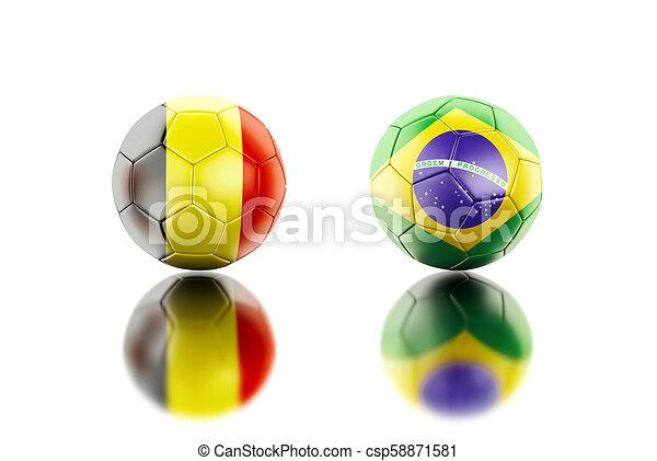 3d Soccer balls with Belgium and Brazil flags. - csp58871581