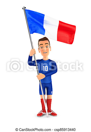 3d soccer player blue jersey standing with flag of france - csp85913440