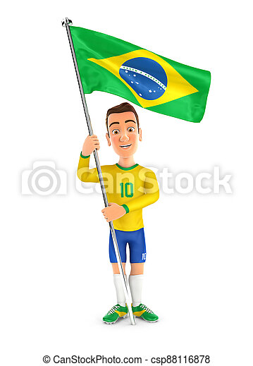 3d soccer player yellow jersey standing with flag of brazil - csp88116878