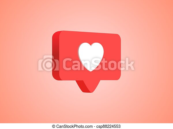 3d social media notification love like heart icon in red rounded square pin isolated on pink wall background with shadow and reflection 3D rendering - csp88224553