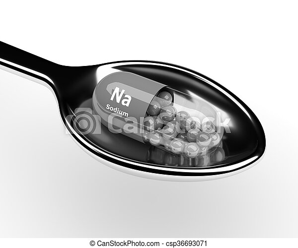 3d sodium pill on spoon over white - csp36693071