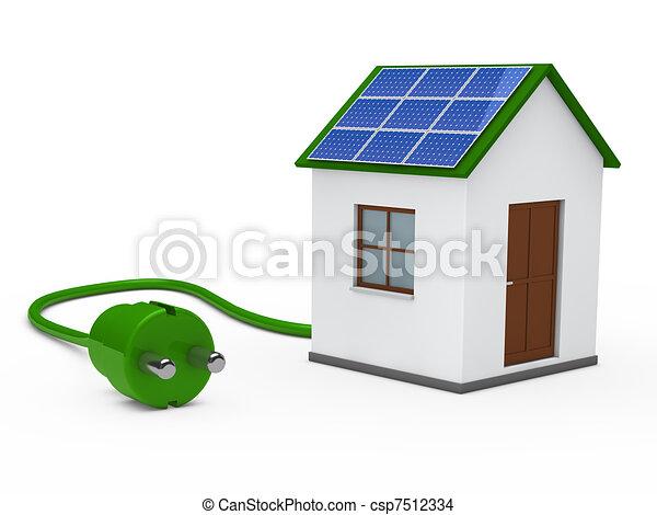 3d solar house with plug. 3d house with solar panal plug... drawing ...