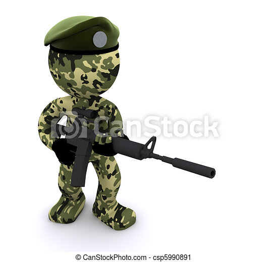 3d soldier textured with camouflage - csp5990891