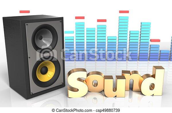 sound system clipart. 3d \u0027sound\u0027 sign sound system - csp49880739 clipart o