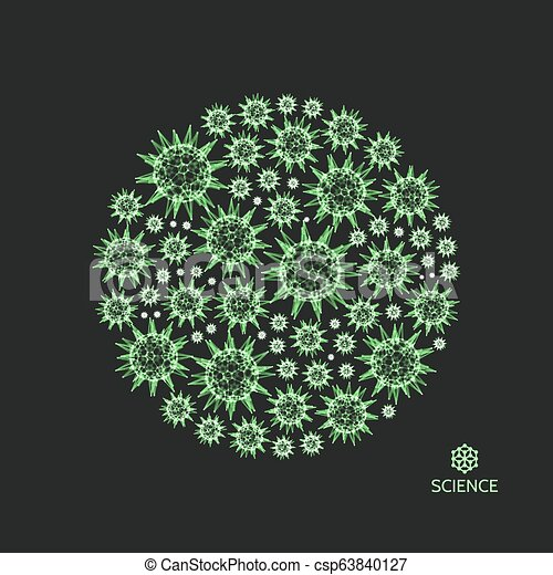 3d sphere with connected lines and dots. Microorganism cells in space. Green virus particles. Abstract vector illustration for science, medicine, education. - csp63840127