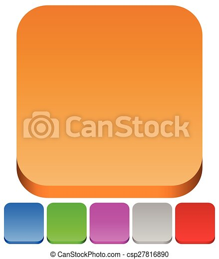 3d squares with rounded corners in 6 colors: Brown, blue, green, purple, gray and red button backgrounds. - csp27816890