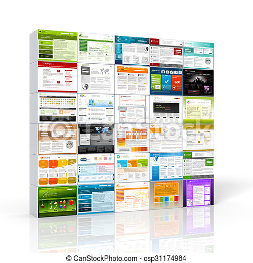 3d stacked website template wall collection - alu boxes. Stacked 3d ...