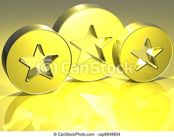 3D Stars Yellow Sign - csp9949934
